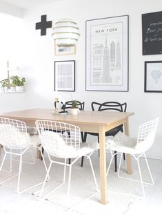 Masters chairs by Kartell and A331 Beehive pendant by Artek, from the blog Vastarintama.