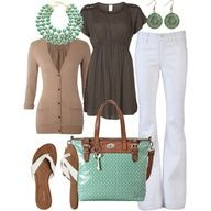 Beachy Coral Outfits   Fashionista Trends... Mint flats with white pants, could do mint with white and coral.