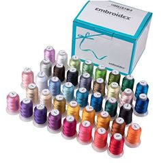40-Spools-Polyester-Embroidery-Machine-Thread Sewing Machine Thread, Machine Embroidery Thread, Embroidery Supplies, Brother Embroidery, Thread Spools, Embroidery For Beginners, Janome, Sewing Stores, Sewing Crafts