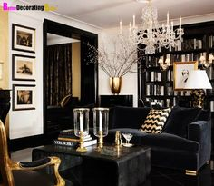 Living Room - Black and Gold; Rich tones; Photo frames lined vertically; Coffee table books; Beautiful bookcase .... Great for Saints fans too More