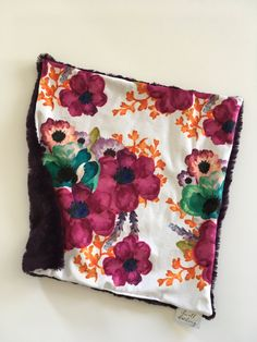 Purple floral lovey coral Floral lovey security blanket, minky, floral nursery, girl baby shower gift, toddler security by DwellDarling on Etsy