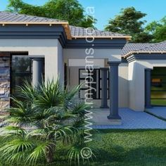 4 Bedroom House Plan – My Building Plans South Africa Tuscan House Plans, Garage House Plans, Family House Plans, Dream House Plans, Small Contemporary House Plans, Modern Small House Design, Single Storey House Plans, One Storey House, 6 Bedroom House Plans