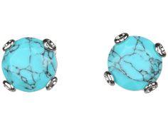 turquoise stud earrings / fossil