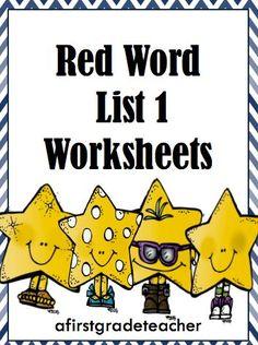 Orton Gillingham Red Word List 1 Practice Worksheets   Words ...