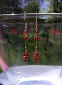 Wire Wrapped Red Coral Cluster Earrings - Coral Fringe & Chain Earrings - Wire Jewelry. $58.00, via Etsy.