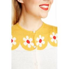'Della' Cream and Yellow Floral Knitted Cardigan