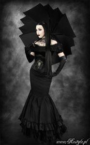 Square umbrella with cut corners unisex black parasol