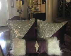 Blingtasticdesign by Blingtasticdesign on Etsy Small Pillows, Linen Pillows, Custom Pillows, Throw Pillows, Diy Projects Arts And Crafts, Love Sparkle, Custom Shower Curtains, Duvet, Pillow Covers