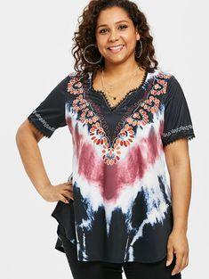 AZULINA Plus Size Tie Dye Curved Hem T-Shirt 2018 Summer V Neck Short Sleeve Lace Print T Shirt Women Clothing Big Size 5XL Tops – Women Shopping