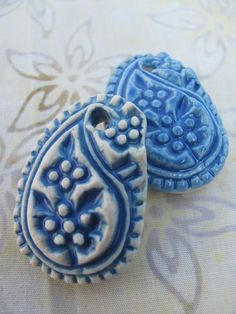 Pair of Porcelain Ceramic Paisley Pendants by ShadyGrovePottery