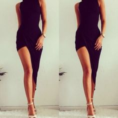 Sexy Elegant Black Party Dresses Women Party Solid Dress NEW Summer Lady Wear Slim