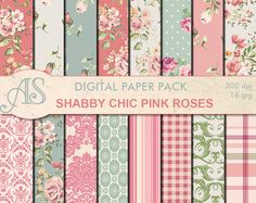 Digital Shabby Chic Pink Roses Paper Pack 16 by AlphabetStore