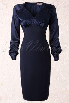 Gerry Roxby - 40s Harriet Navy Dress