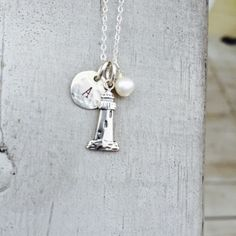lighthouse charm with personalization