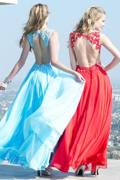 2015 V-Neck Open Back Chiffon&Tulle Prom Dresses A-Line With Applique And Beads CA$ 223.74 GPPXHPGBZF - GorgProm.com