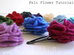 !!!!♥ Feltro-Aholic ♥ Moldes e pap em feltro e feltro estampado!: Flores de feltro - Passo a Passo e Molde