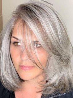 Hair Styles For Women Over 50, Medium Hair Styles, Short Hair Styles, Grey Hair Transformation, Grey Hair Inspiration, Gray Hair Highlights, Mom Hairstyles, Great Hair, Hair Makeup