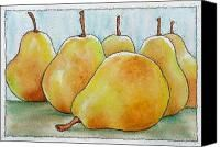 Six Golden Pears Gouache Watercolor And Archival Ink Original Contemporary Painting Painting by Wendy Middlemass - Six Golden Pears Gouache Watercolor And Archival Ink Original Contemporary Painting Fine Art Prints and Posters for Sale