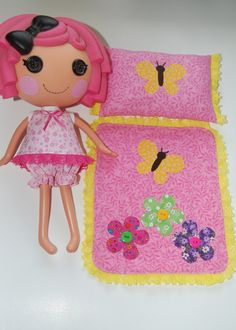 Lalaloopsy Pattern for Summer Pajamas with Appliqued Blanket and matching Pillow by TKCT