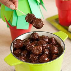 Chipotle-Barbecue Meatballs | Start with a package of frozen meatballs and cook in the slow cooker with bottled barbecue sauce and cherry preserves for this easy, 5-ingredient appetizer. | SouthernLiving.com