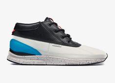 Kotníkové boty Black Scale x Gourmet Quadici Lite — černo-bílo-modré tenisky — podzim/zima 2014  #sneakers #midtops #blackscale #gourmet #black #white #blue #shoes