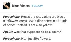 I love flowers almost more than Hades! I just wish I could have flowers and Hades at the same time. Greek Mythology Humor, Greece Mythology, Greek And Roman Mythology, Percy Jackson Memes, Percy Jackson Books, Percy Jackson Fandom, Tio Rick, Uncle Rick, Greek Memes