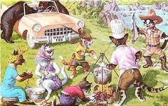 Eugen Hartung Artist Signed Mainzer Dressed Cat Camping Fishing Vintage Postcard