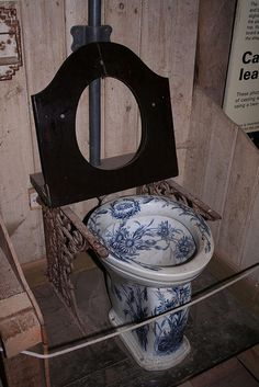antique blue and white toilet...I dont know if I could bring myself to actually use this...