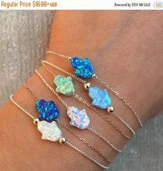 ON SALE Mini Lab Opal Hamsa Bracelet by JasmineJewelryShop on Etsy