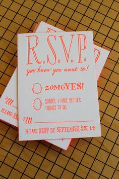 Fun neon letterpress RSVPs - the guests drew all kinds of faces as they sent theirs in! Stationery Design, Invitation Design, Invitation Cards, Wedding Stationary, Wedding Invitations, Letterpress Invitations, Grafik Design, Wedding Paper, Paper Goods