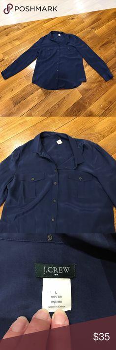 J. Crew Navy Silk Blouse Good condition. J. Crew Tops Blouses
