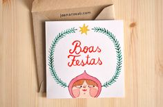 1 Christmas greeting card + 1 envelope // HAPPY HOLIDAYS by Joana Rosa Bragança