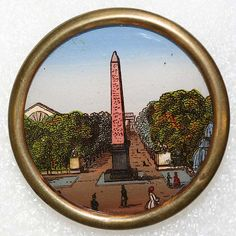 ca 1880 French painted porcelain button.