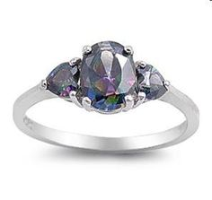 'Sterling Silver Rainbow Topaz CZ Ring' is going up for auction at  9pm Sun, Aug 5 with a starting bid of $20.