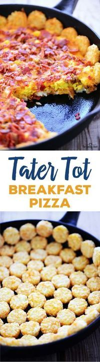 Tater Tot Breakfast Pizza recipe with crispy potatoes, scrambled eggs, melted cheese, crispy bacon and sausage is a delicious breakfast or holiday brunch!