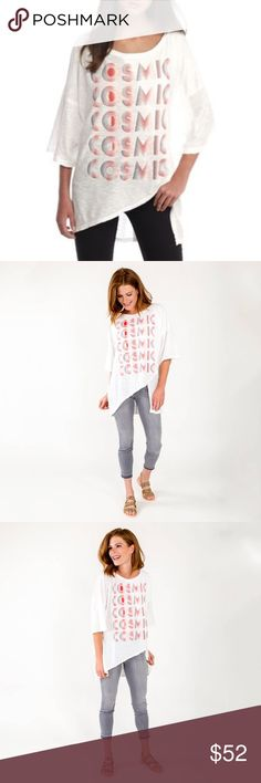 🆕Free People | Cosmic Oversized Logo printed Brand New Free People cosmic T-Shirt printed Logo Color Ivory in Large Free People Tops
