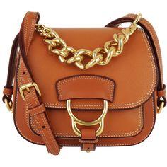 Miu Miu Shoulder Bag - Pattina Lux Madras Crossbody Bag Calfskin... ($1,465) ❤ liked on Polyvore featuring bags, handbags, shoulder bags, orange, brown crossbody, hand bags, crossbody purse, brown purse and chain crossbody