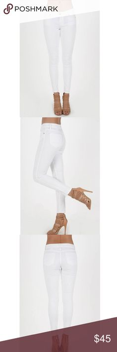 White Skinny Ankle Jeans White low rise skinny jeans. White denim- perfect thickness- not see through. Ankle length. Some stretch to the fabric for the perfect fit. Juniors sizing. 98% Cotton 2% Spandex. Please ask any questions you may have regarding fit! Happy to provide measurements for you. marigold and park Jeans Skinny