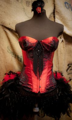 PHOENIX - Burlesque Corset Costumes Red & Black for wedding Halloween prom dress