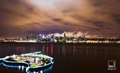 NYC Skyline at Night. Hoboken, NJ pier in the foreground. thedigestonline.com #hoboken #thedigest