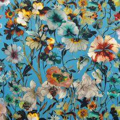 5300d6798f6 Italian Made Floral Digital Dresswear Fabric Blue Yellow Turquoise 145cm