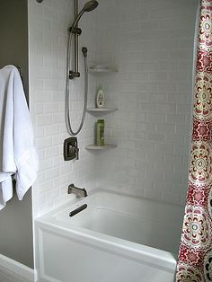 Beveled White Subway Tile Shower- handheld shower only