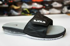 f94f07faa143d5 Latest Listing Cheap Nike Air LeBron Slide 2 554713 010 Black White Strata  Grey Your Best Choice