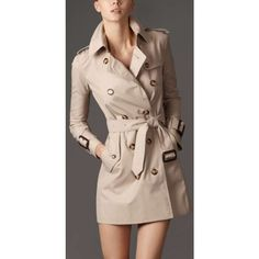 Burberry Short Double Breasted Trench Coat with Wide Cuffs