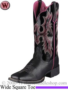 Ariat Boots for Women | Ariat Women's Tombstone Boots Wide Square Toe Black 5866