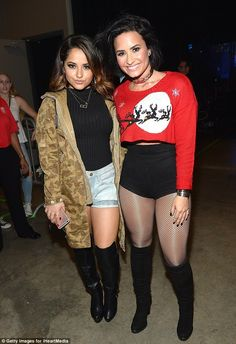 Boots appeal: Demi posed with Becky G backstage...