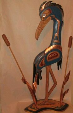 "The great Blue Heron ""The Patient Hunter"" - Herb Rice - 3' tall - white pine and yellow cedar with hammered copper"