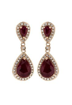 Gemma Rose Gold Ruby and Diamond Earrings, 2.98 TCW