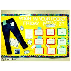 "I love this title for a poetry bulletin board display ""A Poem in Your Pocket/ Poems in Our Pockets.""  This display could be made with a pair of jeans as shown here, or a T-shirt with a pocket."