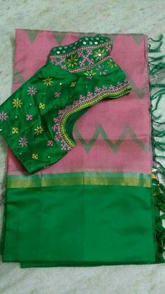 Silk saree with embroidered blouse. Pattu Saree Blouse Designs, Fancy Blouse Designs, Bridal Blouse Designs, Mirror Work Blouse Design, Kutch Work Designs, Sarees, India Jewelry, Embroidered Blouse, Draping